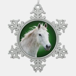 White Horse on Green Snowflake Ornament