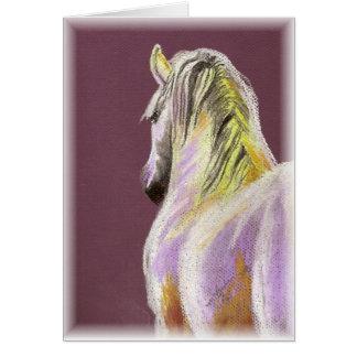 White Horse on Purple Card