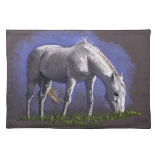 White Horse, Original Color Pencil, Equine Art Placemats