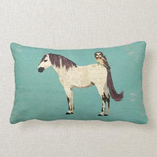 White Horse & Owl Blue Mojo Pillow