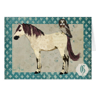 White Horse & Owl Monogram Notecard