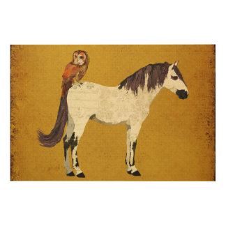 White Horse & Owl Wooden Canvas Wood Prints