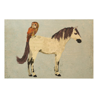 White Horse & Owl Wooden Canvas Wood Print