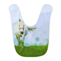 White Horse Painted Portrait Baby Bib