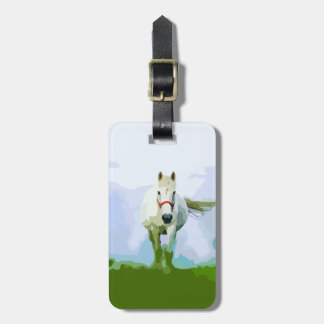 White Horse Painted Portrait Bag Tag