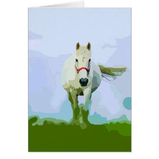 White Horse Painted Portrait Card