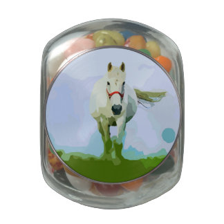 White Horse Painted Portrait Glass Candy Jars