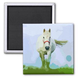 White Horse Painted Portrait Magnet