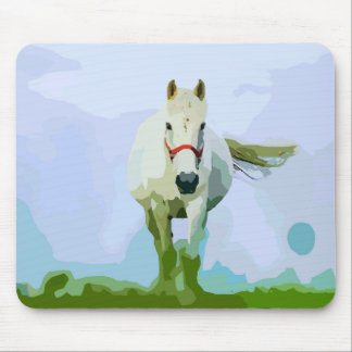 White Horse Painted Portrait Mouse Pad