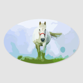 White Horse Painted Portrait Oval Sticker