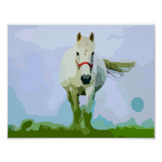 White Horse Painted Portrait Poster