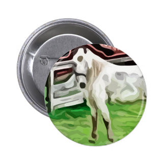 white horse painting 2 inch round button