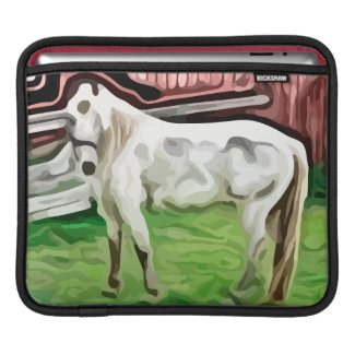 white horse painting iPad sleeve