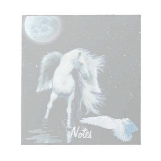 White Horse Pegasus & White Raven Fantasy Notepad