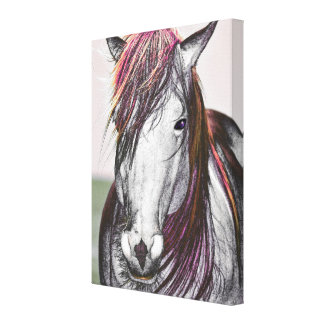 White Horse Pink Hair Art Design Gallery Wrapped Canvas