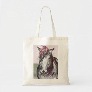 White Horse Pink Hair Art Design Tote Bag