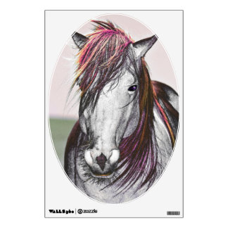 White Horse Pink Hair Art Design Wall Decal