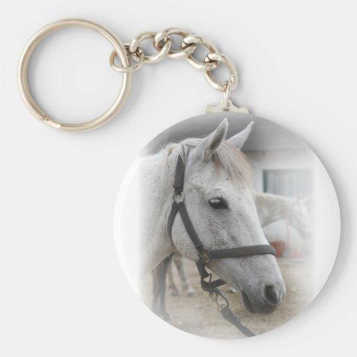 White Horse Portrait Basic Round Button Keychain