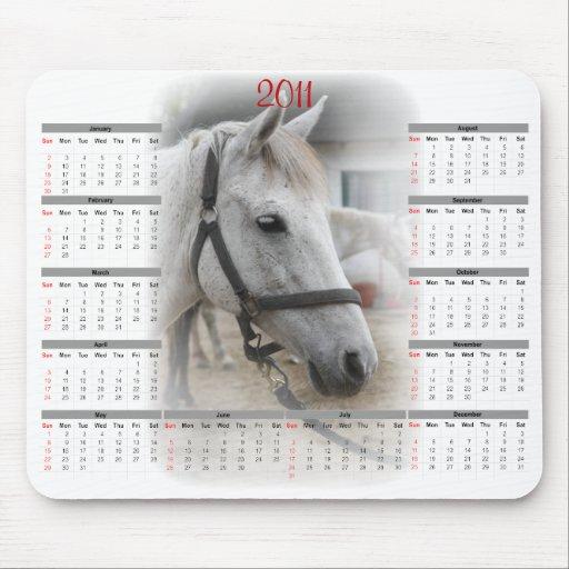 White Horse Portrait Calendar Mousepads