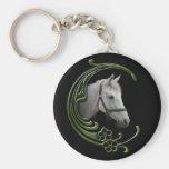White Horse Portrait Floral Swirls Decor Basic Round Button Keychain