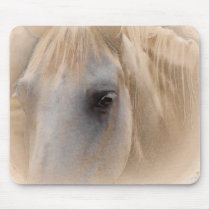 White Horse Portrait Mouse Pad