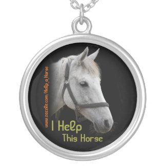 White Horse Portrait on Black Round Pendant Necklace