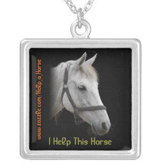 White Horse Portrait on Black Square Pendant Necklace
