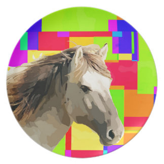 White Horse Portrait Painting Pop Art Melamine Plate