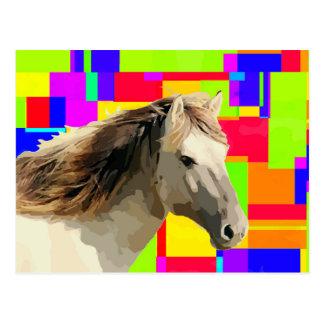 White Horse Portrait Painting Pop Art Postcard