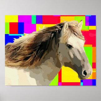 White Horse Portrait Painting Pop Art Poster