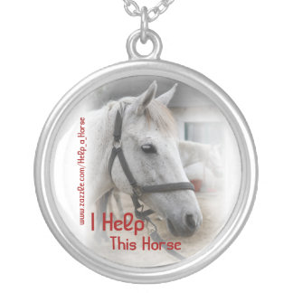 White Horse Portrait Round Pendant Necklace