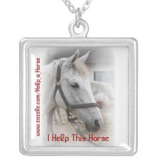 White Horse Portrait Square Pendant Necklace