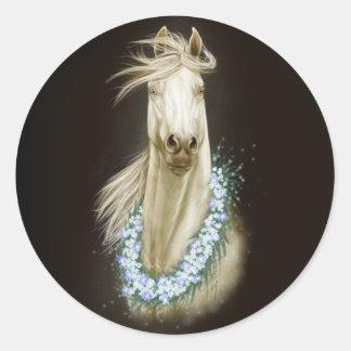 white horse portrait sticker