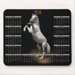 White Horse Prancing Calendar Mouse Pads