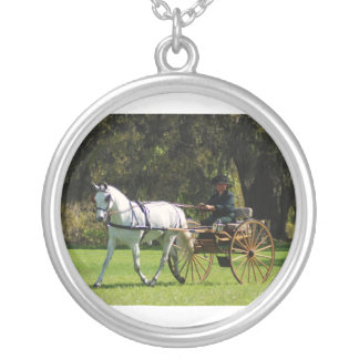White horse pulling a carriage round pendant necklace