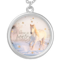 White Horse Quote Poetry in Motion Gold Stars Silver Plated Necklace