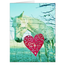 White Horse Red Heart Valentine Card