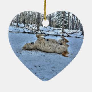 White Horse Rolling in Winter Snow Ceramic Ornament