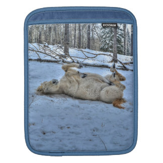 White Horse Rolling in Winter Snow iPad Sleeve