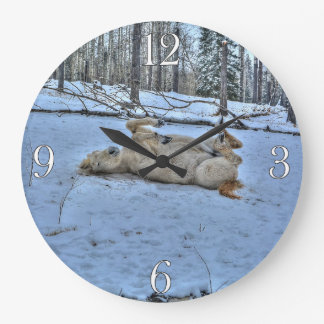 White Horse Rolling in Winter Snow Large Clock