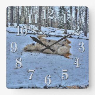 White Horse Rolling in Winter Snow Square Wall Clock