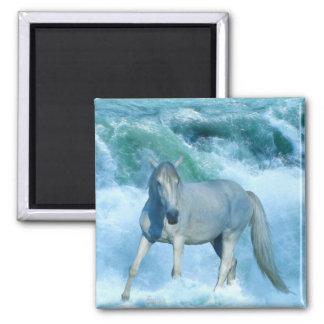 White Horse & Rolling Ocean Surf Art Magnet
