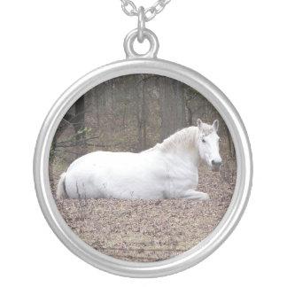 White horse round pendant necklace