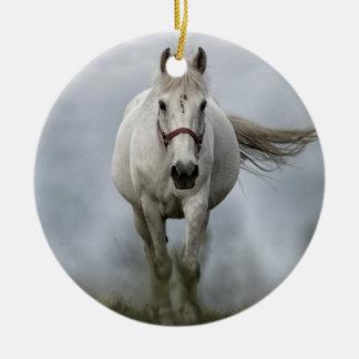 White Horse Running Ceramic Ornament