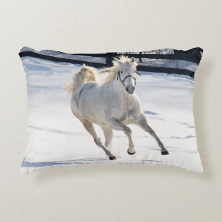 White Horse Running In Snow Accent Pillow