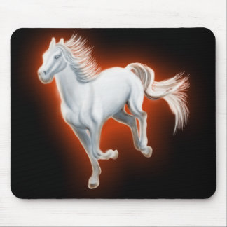 White Horse Running Mouse Pads