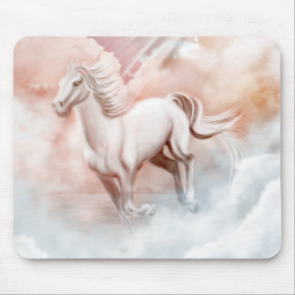 White Horse Running Mouse Pad