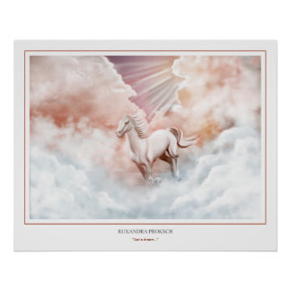 White Horse Running Trough The Clouds 2 Poster