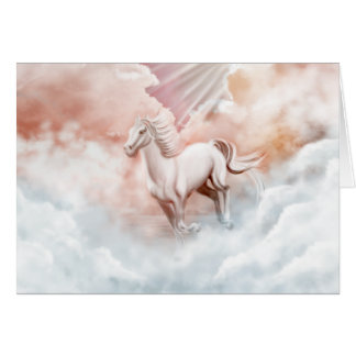 White Horse Running Trough The Clouds Card