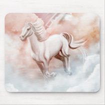White Horse Running Trough The Clouds Mouse Pad